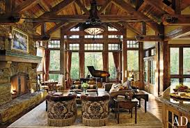 Open Sunroom Rustic Living Room With Country Style Furniture Feats Round Chandelier Hang On Sloped Wood Ceiling