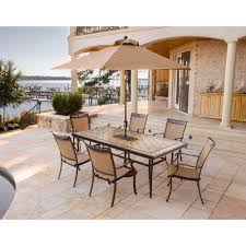7 Piece Patio Dining Set With Umbrella by Fontana 7 Piece Dining Set With Six Stationary Dining Chairs A