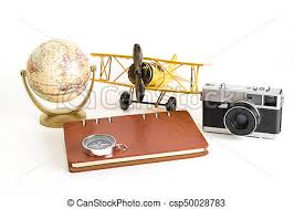 Vintage World Travel Blogger Objects On White Background Stock Photo