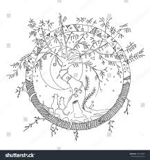 Round Imaginary Fictional World With A Tangled Old Willow Tree And Two Cats Gazing At The