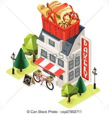 Bakery Building Tint Icon Isometric csp