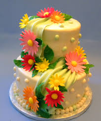 Birthday Cake And Flowers Flower Cakes Decoration Ideas Little Birthday Soft Yellow Cake With Orange Flowers Birthday Cake And Flowers Happy