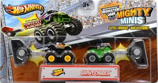 100 Team Hot Wheels Monster Truck Firestorm Vs Grave Digger Model Vehicle Sets