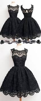 Vintage Black Lace Homecoming Dress Short Sleevelessprom Prom Dresses Sexy