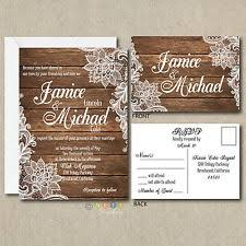 100 Personalized Country Rustic Lace Wedding Invitations Post Card RSVP