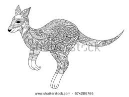 Zendoodle Design Of Jumping Kangaroo For Element And Adult Or Kid Coloring Book Page