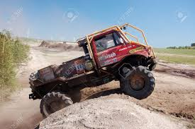 100 Unimog Truck Mercedes Benz Rally At Offroad Competition Stock Photo