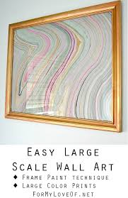 Easy Large Scale Wall Art With A Unique Gold And Copper Frame Paint Technique Magenta Grey Marble Print