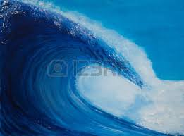 Painting of a very large wave blue Stock