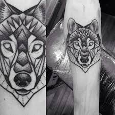 Wildlife Geometric Wolf Tattoo On Thigh In 2017 Real Photo