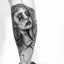 Crying Girl Tattoo On Leg By Frank Carrilho