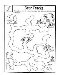 Coloring Sheet Of Bed Full Animals Bear Tracks Maze