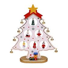 OULII Christmas Wooden Tree Mini Ornaments Desktop For Kids Gift Home Party Decoration