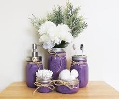 jar bathroom set purple bathroom storage rustic