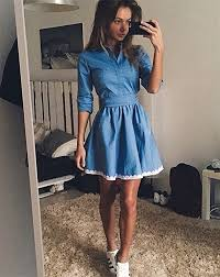 Fall 2017 Fashion Women Casual Dress Summer Vintage Cute Lace Slim Blue Denim Party Mini Dresses In From Womens Clothing Accessories On