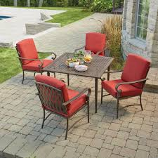 Hampton Bay Patio Furniture Cushion Covers by Hampton Bay Oak Cliff 5 Piece Metal Outdoor Dining Set With Chili