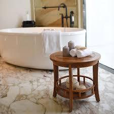 badezimmer tisch aus massiven teakholz ø 51cm x 47cm it 250378 bütic gmbh