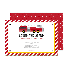 Firetruck Birthday Party Invitations - Pink Poppy Party Shoppe, LLC