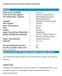 Sample Resume For Fresher Teaching Job In India Teacher Format Primary Download