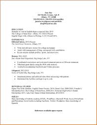 Resume Template Student Internship Sample