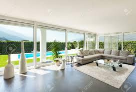 moderne villa inneneinrichtung schönes wohnzimmer