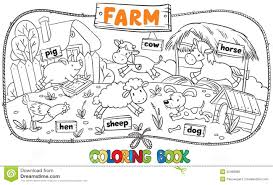 Royalty Free Vector Download Great Coloring Book With Farm Animals