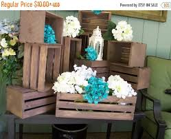 ON SALE Wood Crates Rustic Wedding Reception Table Centerpieces Planter Box Country Decor