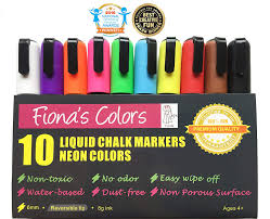 Amazon.com : Fiona's Colors Wet Erase Non-Toxic Liquid Chalk Markers ...