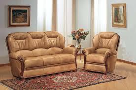 canapé cuir et bois rustique salon cuir 3 pieces fauteuils meilleur prix