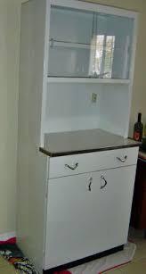 Vintage Metal White Kitchen Cabinet Glass Doors
