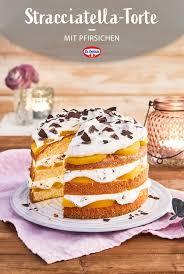 stracciatella torte mit pfirsichen