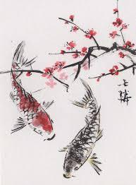 Lin Lis Chinese Art Original ACEO Watercolor Painting KOI Plum Blossoms