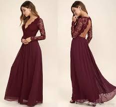 2018 Burgundy Chiffon Bridesmaid Dresses Long Sleeves Western