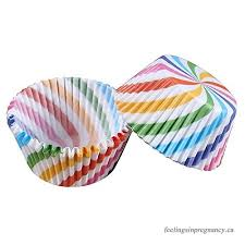 SODIAL Baking Cups Cupcake Liners Standard Sized 300 Count Rainbow Skew Stripe
