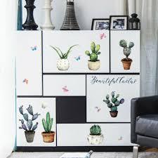 eg kaktus bonsai diy wandaufkleber wohnzimmer schrank