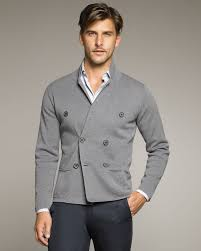 lanvin double breasted knit jacket in gray for men lyst