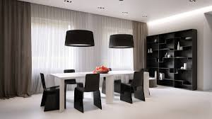 Block Furniture Chiffon Curtains Black And White Dining Room