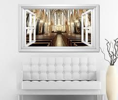 3d wandtattoo fenster kirche durchgang tür stühle decke weiß wand aufkleber wanddurchbruch sticker selbstklebend wandbild wandsticker wohnzimmer