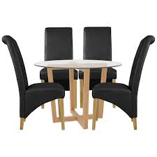 Oak & Glass Round Dining Table And Chair Set With 4 Seats | Black ... Oak Round Ding Table In Brown Or Black Garden Trading Extending Vintage And Coloured With Tables Glass Square Wood More Amart Fniture Serene Croydon Set 4 Marlow Faux Leather Eaging Solid Walnut And Chairs White Outdoor Winston Porter Fenley Reviews Wayfair Impressive 25 Levualistecom Amish Merchant Oslo Ivory Leather Modern Direct Rhonda In Blacknight Oiled Woood Cuckooland Chair Seats Round Extending Ding Table 6 Chairs Extendable