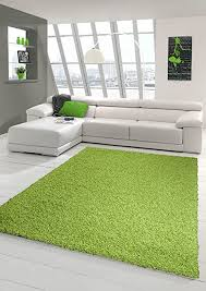 traum shaggy teppich hochflor langflor teppich wohnzimmer teppich gemustert in uni design grün größe 60x110 cm