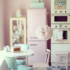 Love How This Pink Smeg Fits A 60s Style Kitchen