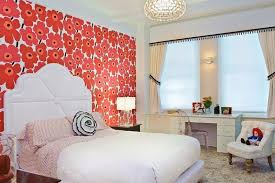 Childrens Bedroom Wallpaper Ideas Executive Teenager Design White Wood Stained Swing Door Cupboard Pink Bird Paint Wall Decoration