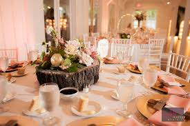 Wooden Tree Stump Centerpiece With Flowers Light Pink Wedding Color Schemes