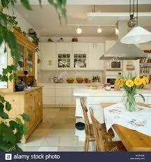 moderne weiße küche esszimmer mit anhänger beleuchtung