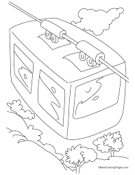A Top View Of Cable Car Coloring Pages