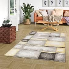 designer teppich pastell grau gelb karo