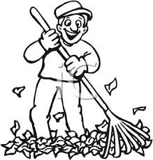 Picture In Black and White of a Happy Man Raking Up Leaves Royalty Free Clipart Picture