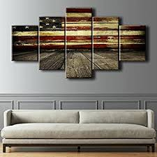 Wooden Flag Wall Pictures For Living Room Canvas Print Retro Vintage American Modern Painting 5pcs Framed Posters And Prints Bedroom Giclee