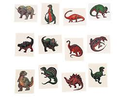 One Dozen Assorted Dinosaur Temporary Tattoos