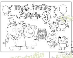 Peppa Pig Birthday Party Favor Coloring Page Activity PDF File